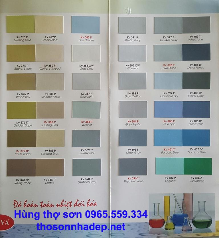 Bảng màu sơn nhà Kova màu đặc biệt 2021