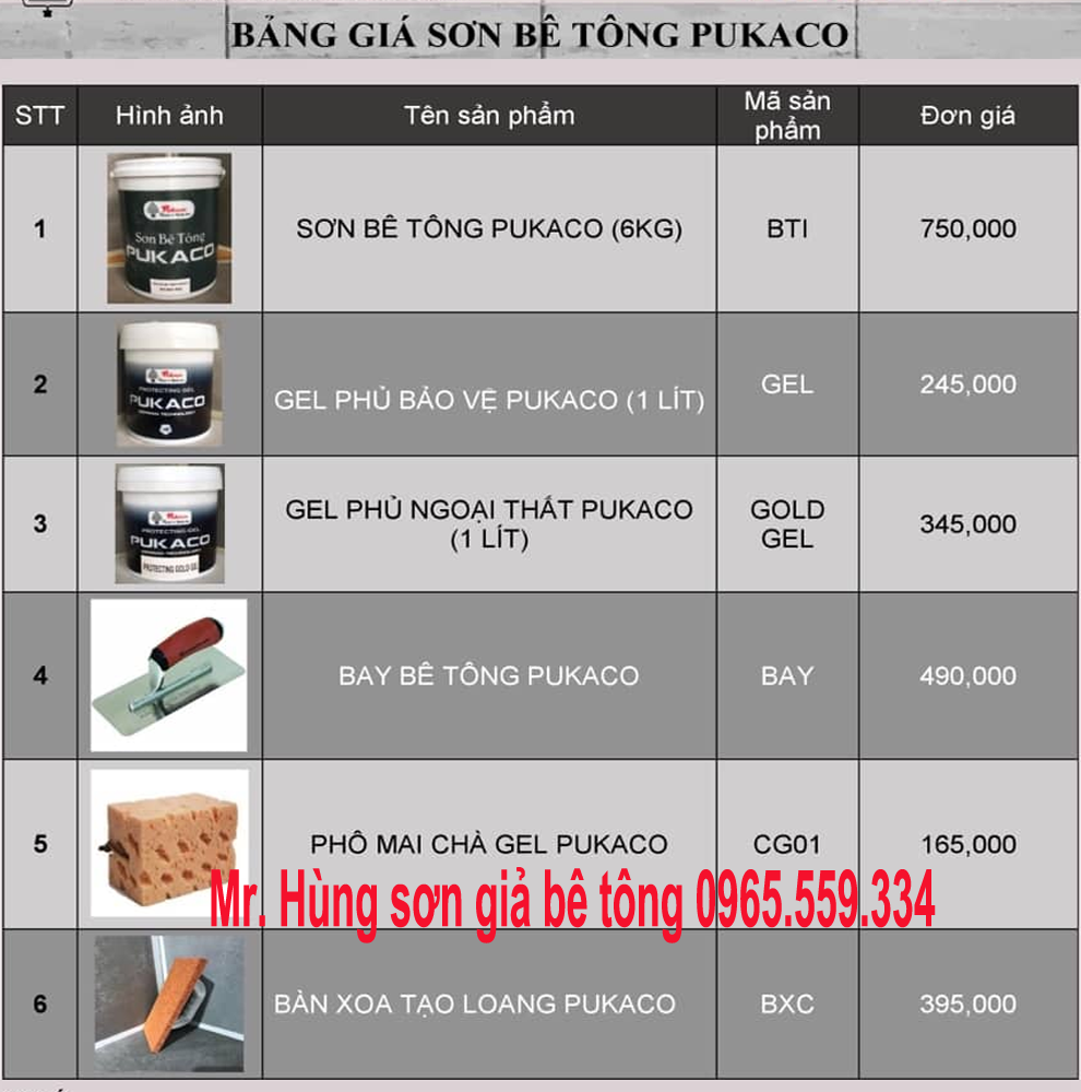 Báo giá sơn Pukaco, vật liệu sơn rẻ nhất